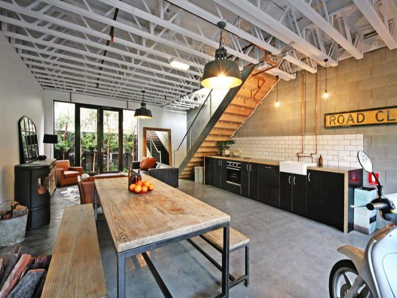 Masculine loft built in a garage.