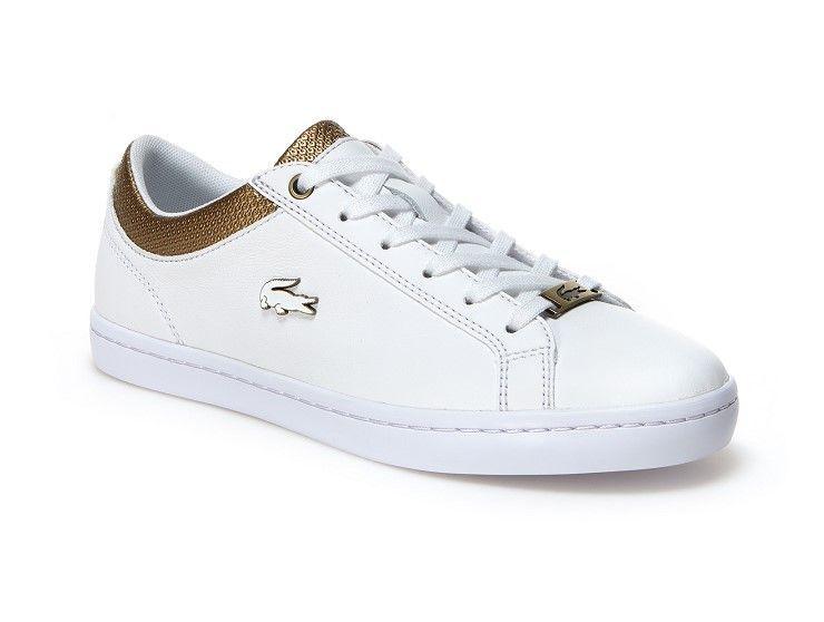 43f366b7091 Sneakers Straightset Lacoste en cuir froissé pas cher prix Baskets femme  Lascote 125