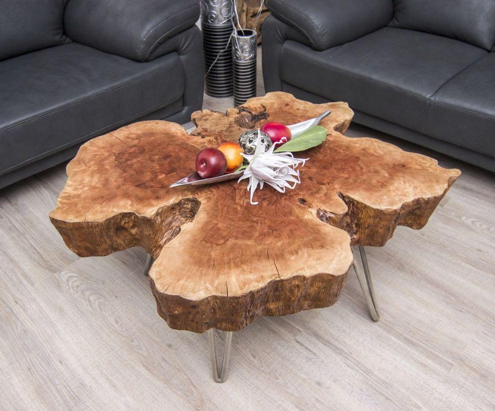 couchtisch wohnzimmertisch baumscheibe lychee massivholz 103x85x42cm