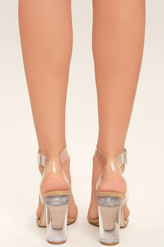 ed590a64ee9 We can totally see you wearing the Steve Madden Clearer Clear Lucite Heels  with all of your stylish outfits! Clear lucite forms a slender toe strap