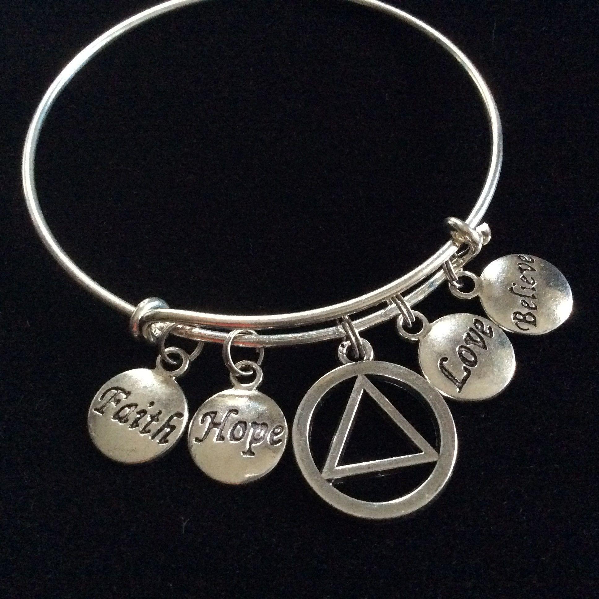 Love Faith Believe Hope AA Recovery Symbol Charm Bracelet