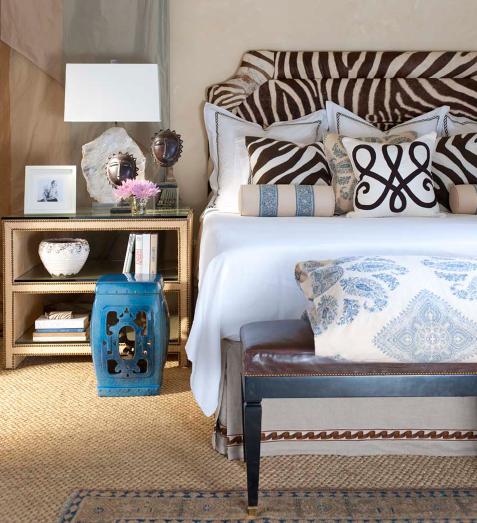 zebra + blue bedroom