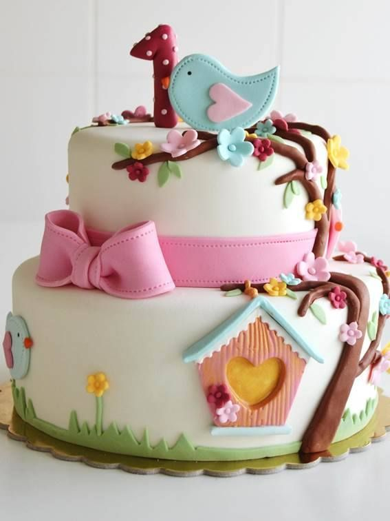 2 Tier First Birthday Cake With Flowers And Birds In Sugarpase For