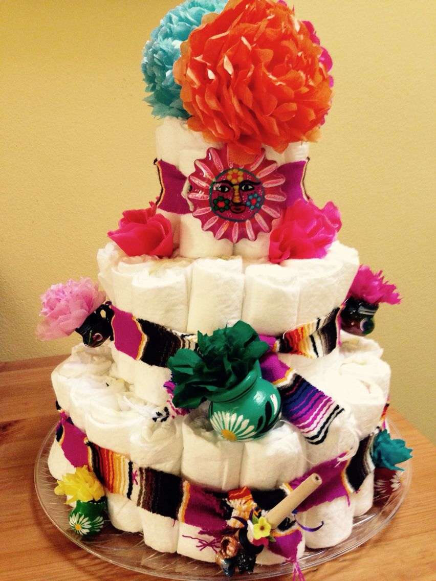 Mexican fiesta party decorating ideas hosting guide - Fiesta Baby Shower Diaper Cake With Clay Decorations