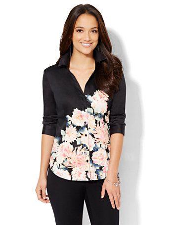 7th Avenue Design Studio - Madison Stretch Shirt - Floral - New York & Company