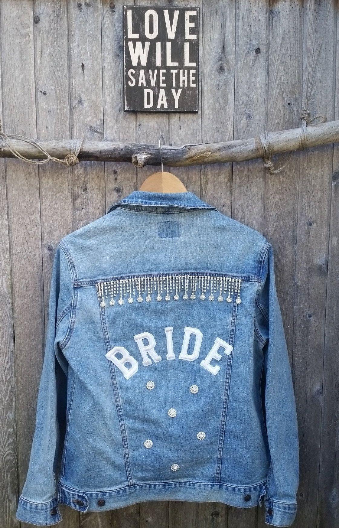 Bride Unisex Denim Wedding Jacket Bride Custom Denimjacket Wifey Denim Jacket Jackets For Bridesmaids Bride And Groom Denim Wedding Wedding Jacket Wifey Jacket [ 1746 x 1121 Pixel ]