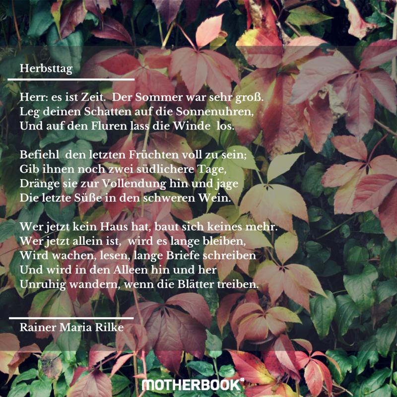 Herbstgedicht Herbsttag Rilke Motherbook Gedichte Rainer Maria