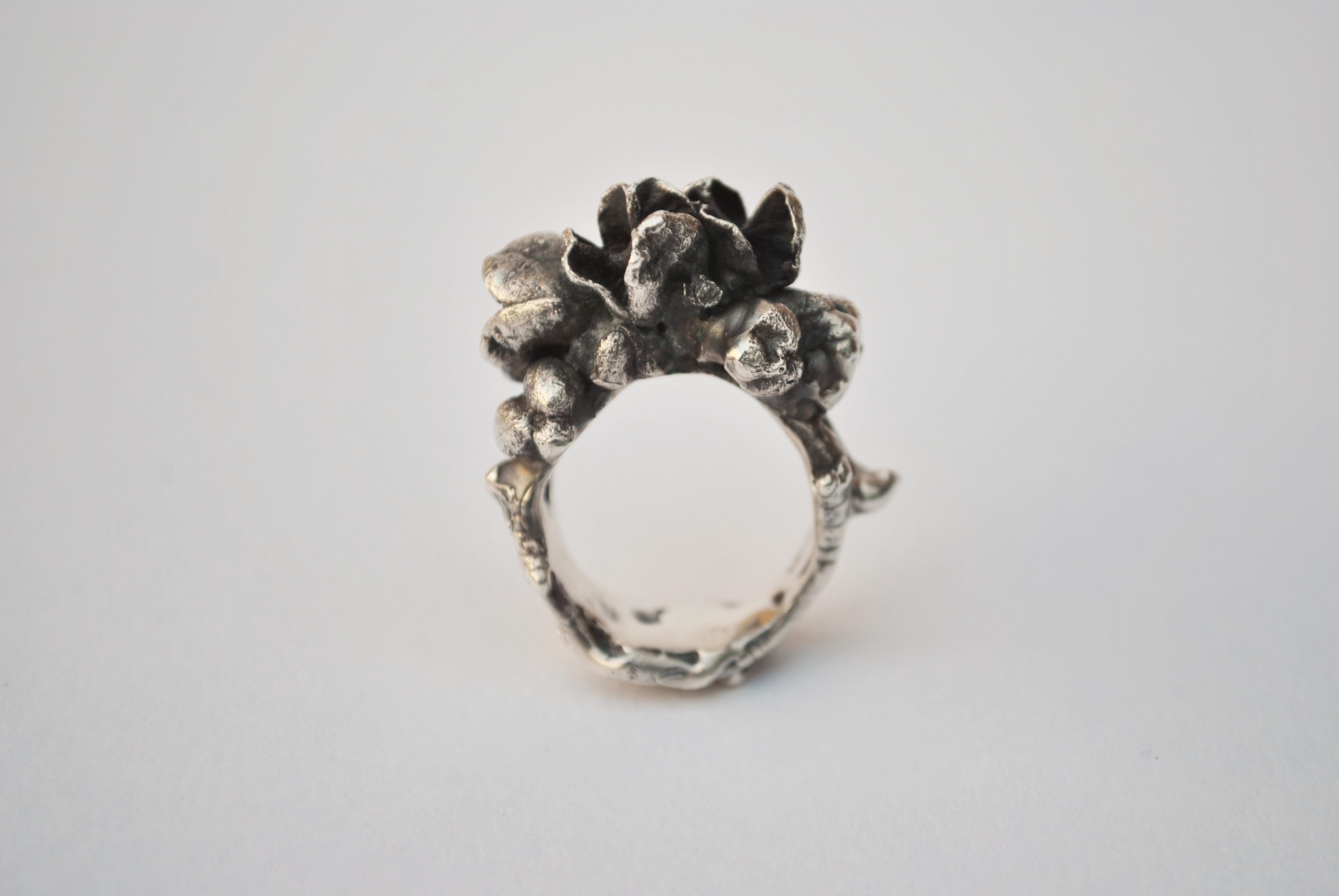 Spring Awakenings 1/Oxidised white metal/ Ring// Jane Harrison Jewellery
