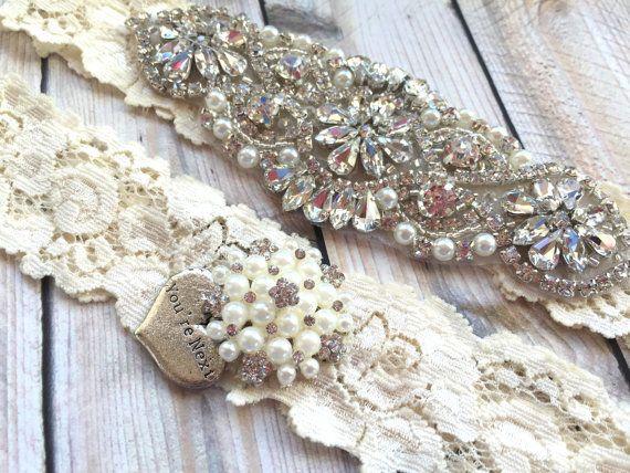 Pearl Garter Beaded Belt Keepsake Crystal Set