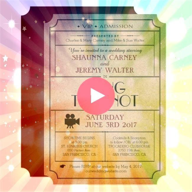 Vintage Ticket Invite  Cinema Film Theme Ships worldwideWedding Vintage Ticket Invite  Cinema Film Theme Ships worldwide Rose Floral Watercolor Wedding RSVP Card Dont kno...
