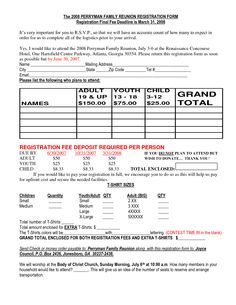 family reunion itinerary template - Google Search | family reunion ...
