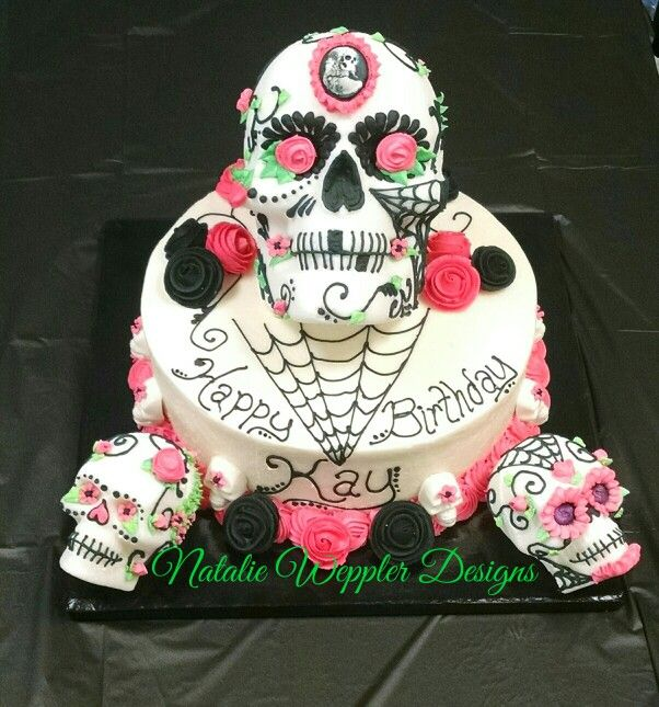 Fine Actual Sugar Skulls For This Ten Inch Red Velvet Cake Celebrate Funny Birthday Cards Online Eattedamsfinfo