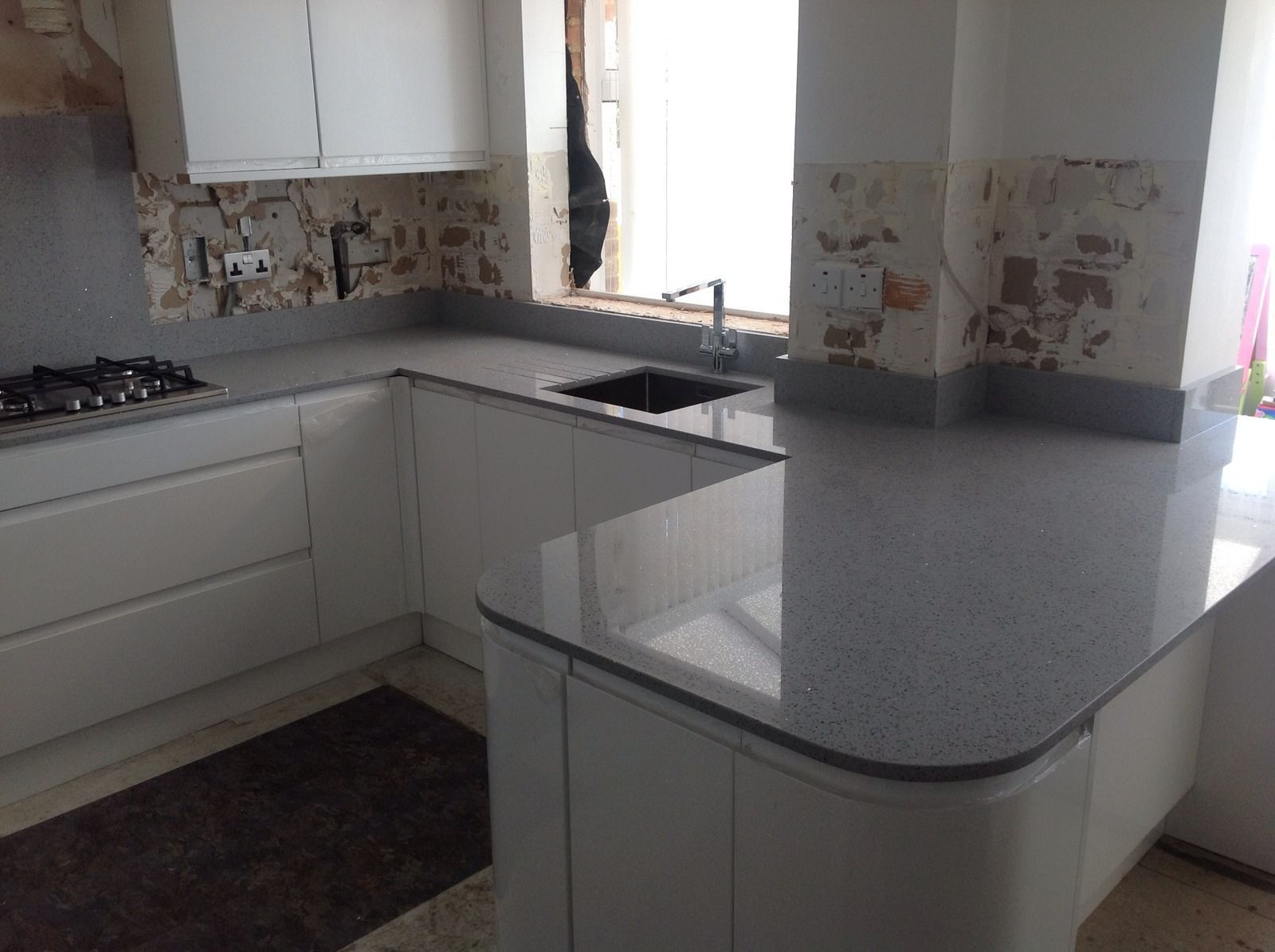light grey mirror fleck quartz worktop sample sparkle. Black Bedroom Furniture Sets. Home Design Ideas