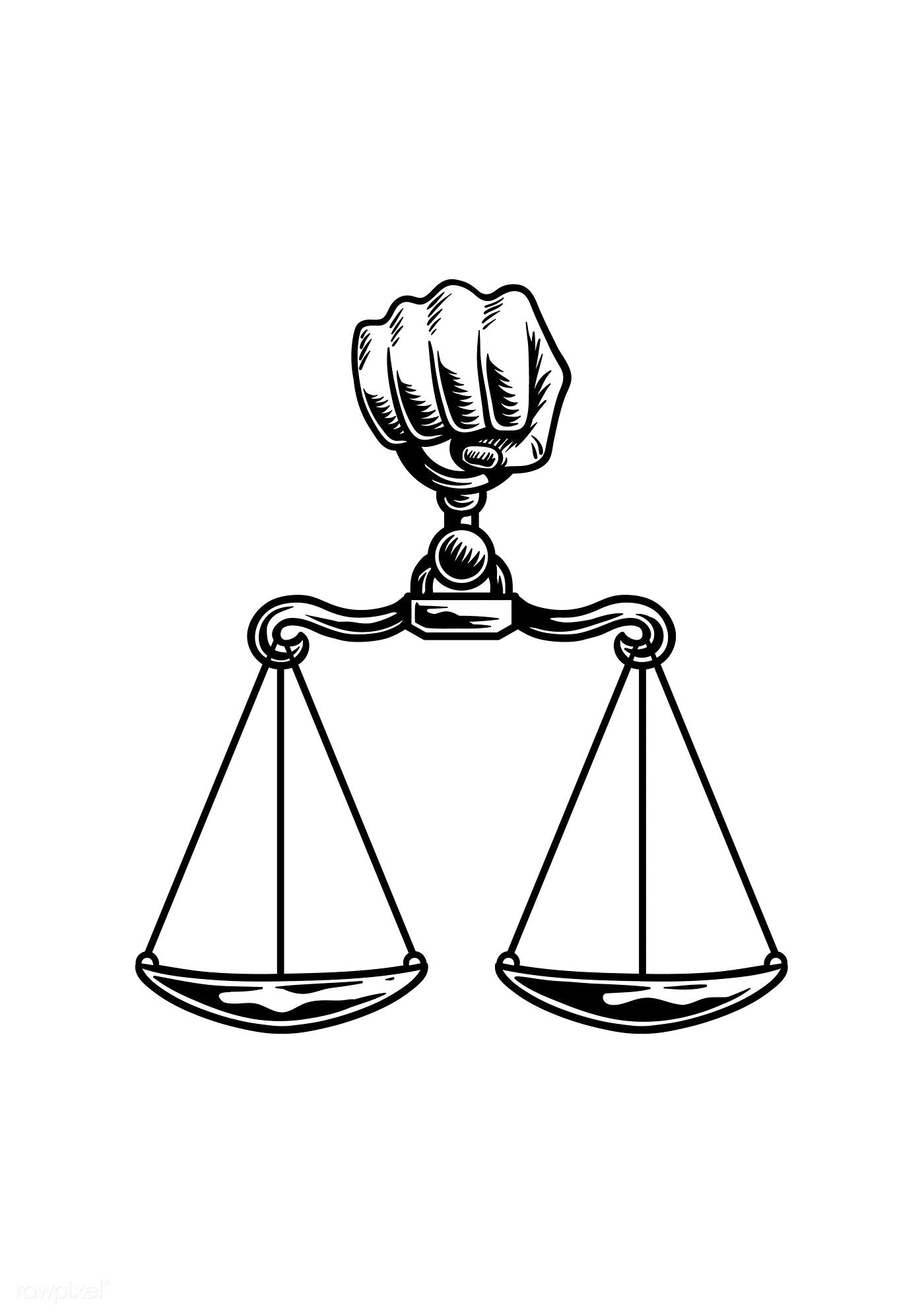 Download Premium Vector Of Illustration Drawing Style Vector 262629 Justice Tattoo Scale Tattoo Fashion Drawing