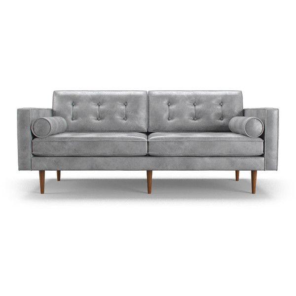 Braxton Mid Century Modern Beige Leather Loveseat 3 599 Liked