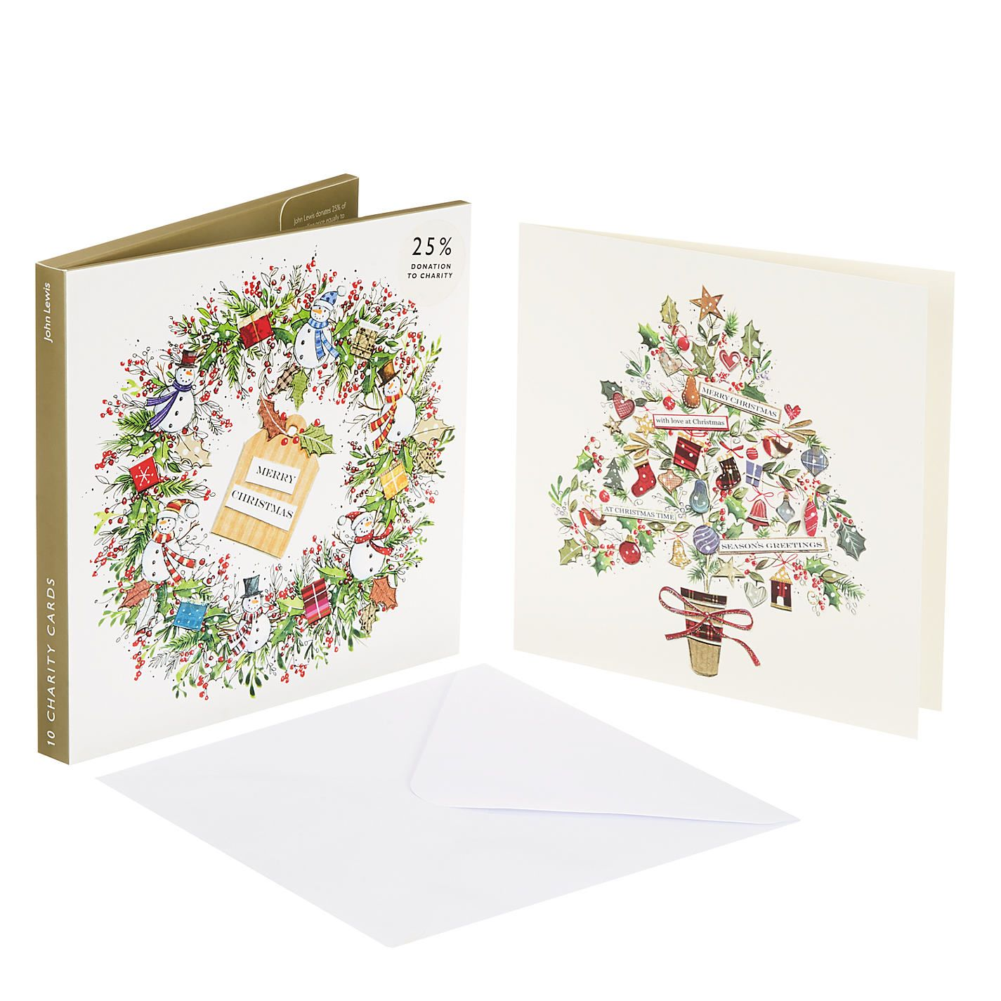 Buy John Lewis Wreath and Tree Charity Christmas Card, Pack of 10 ...