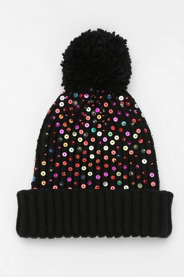 Rainbow Sequin Beanie  urbanoutfitters  6706f372f3c