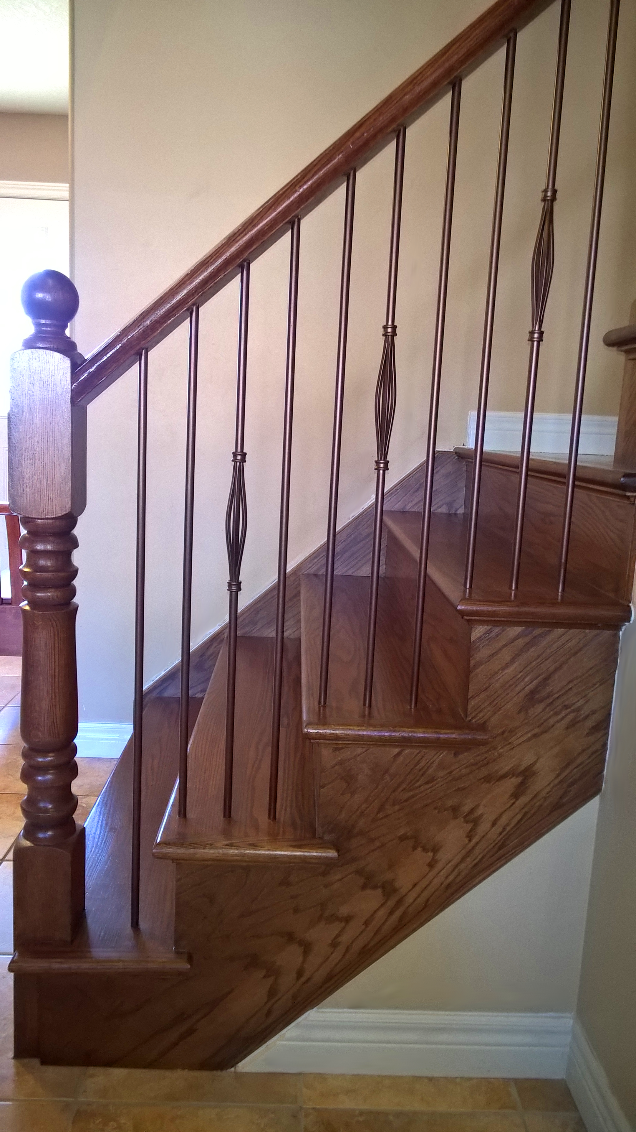 Stairs Capping/refacing, Special Walnut Stain On Red Oak, Metal Balusters, 3