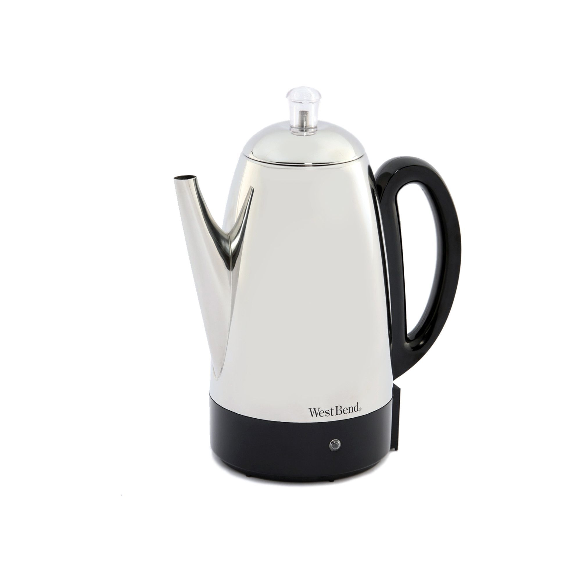 Features Electric Percolator Stainless Steel 12 Cup Capacity Robust Percolator Coffee Percolator West Bend