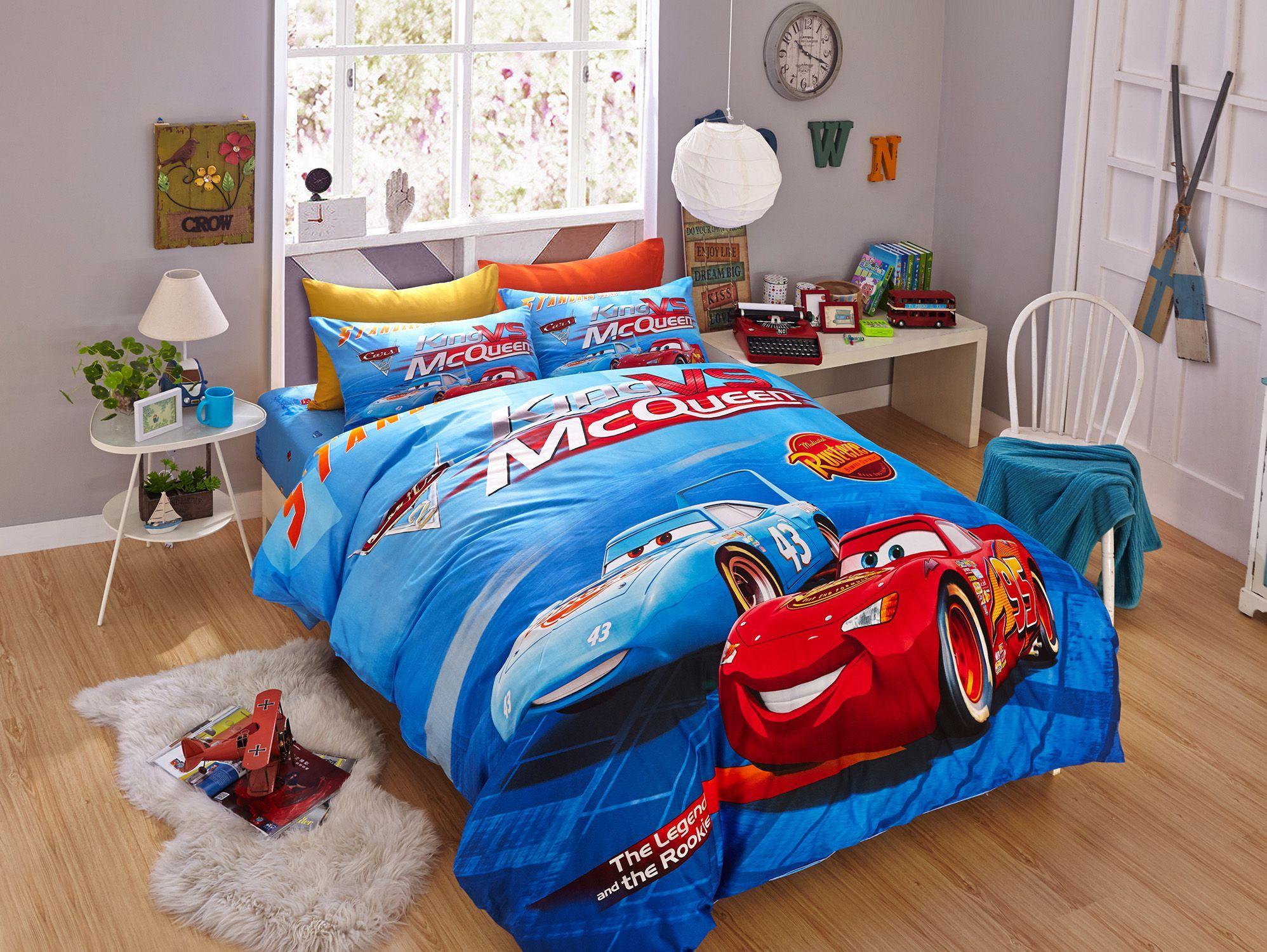 Blue Color Disney Cars Bedding Set Saetta mcqueen