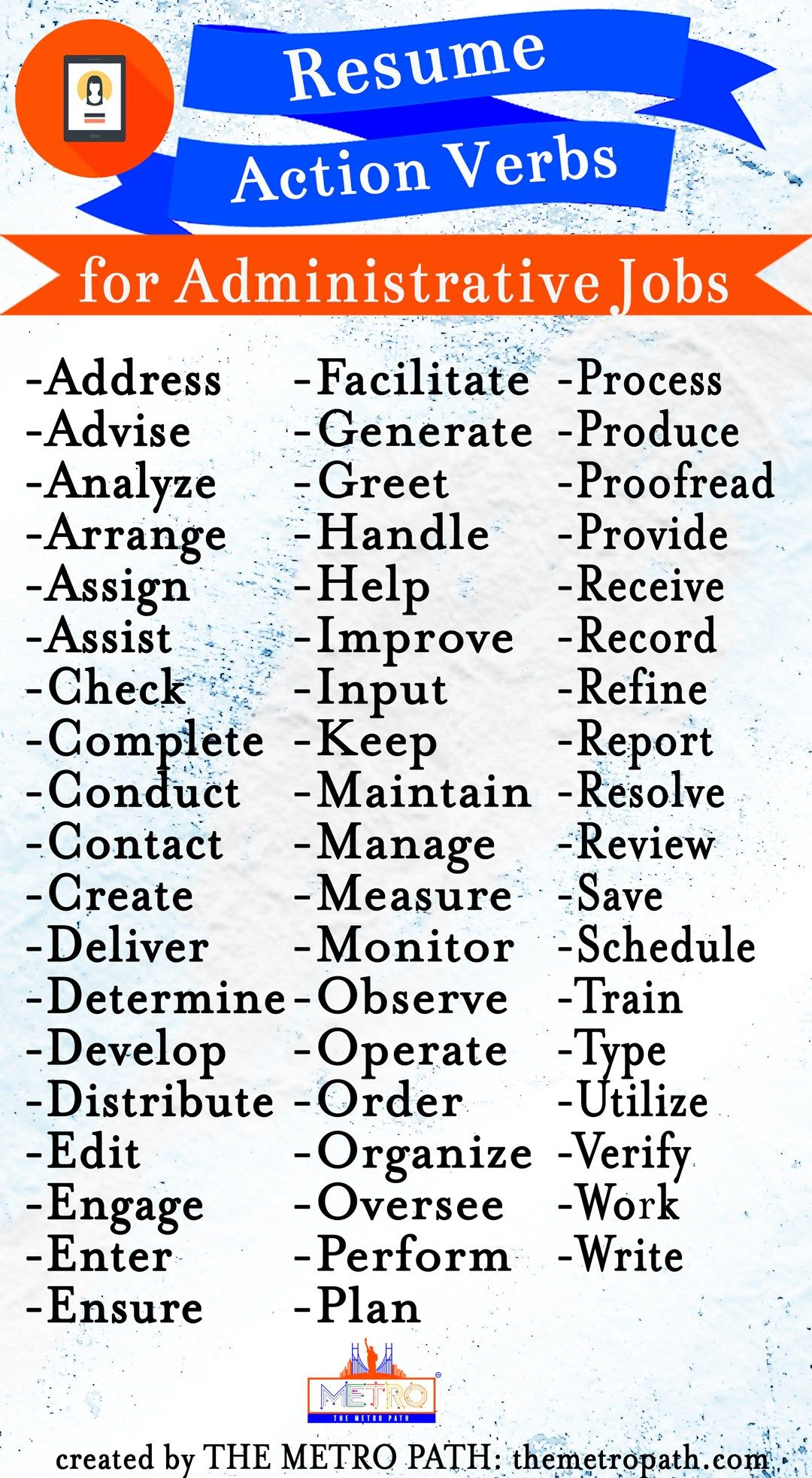 Add These Powerful Words To Your Resume Today Administrative Jobs Infographic Administrative Jobs Powerful Words Job Interview Advice
