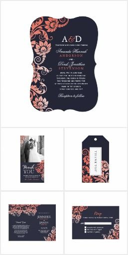 Fully Customizable Coral and Blue Wedding Invitation Collection
