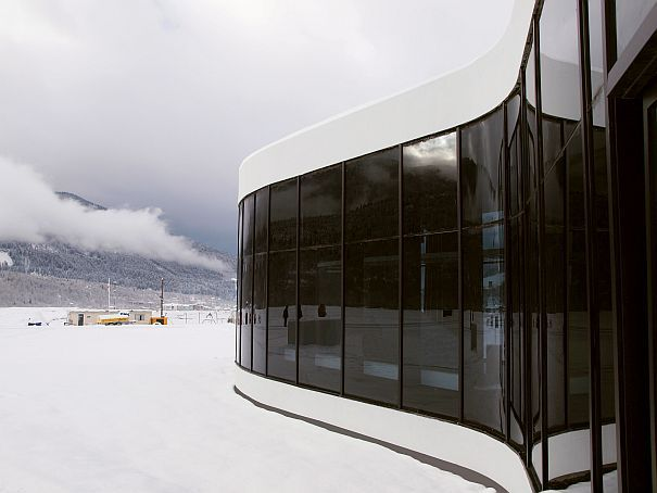 VisualARQ review of a Rhino architecture project: Mestia Airport. The glass is dark to protect against the mountain sunshine reflecting off the snow