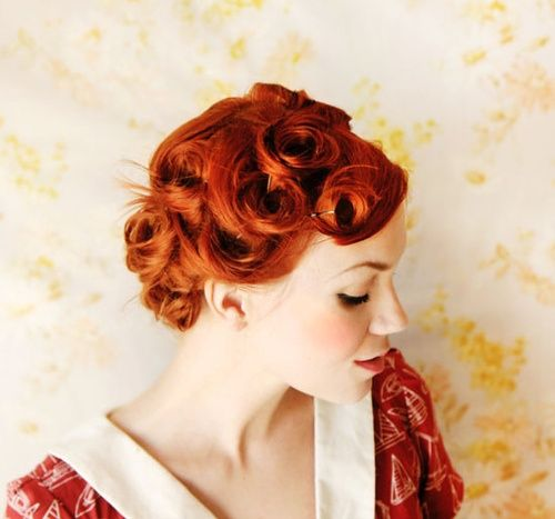 red hair ginger roll curl - retro pin up hairstyle-color