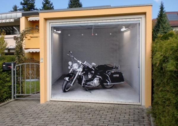 garagentor motorrad rocker schwarz optical illusion. Black Bedroom Furniture Sets. Home Design Ideas