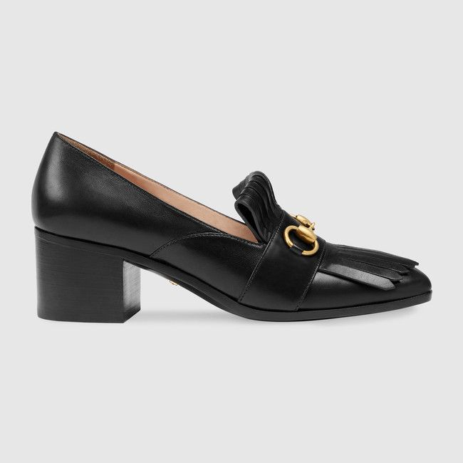 Gucci Leather Mid Heel Loafer Heeled Loafers Gucci Heels Black Leather Shoes