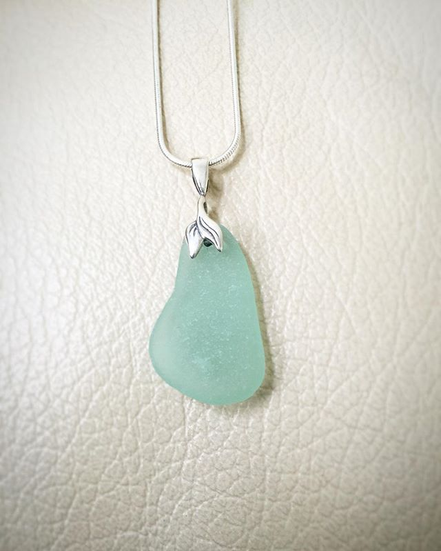 Mermaid Tail & Sea Glass sterling silver necklace by GlassHouse Mermaid