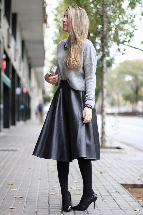 Ad New Fall Winter Pu Black Leather Women S Skirt Faux Midi