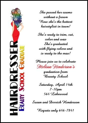 Hair Dresser And Stylist Cosmetology Beauty School Graduation - Graduation commencement invitation