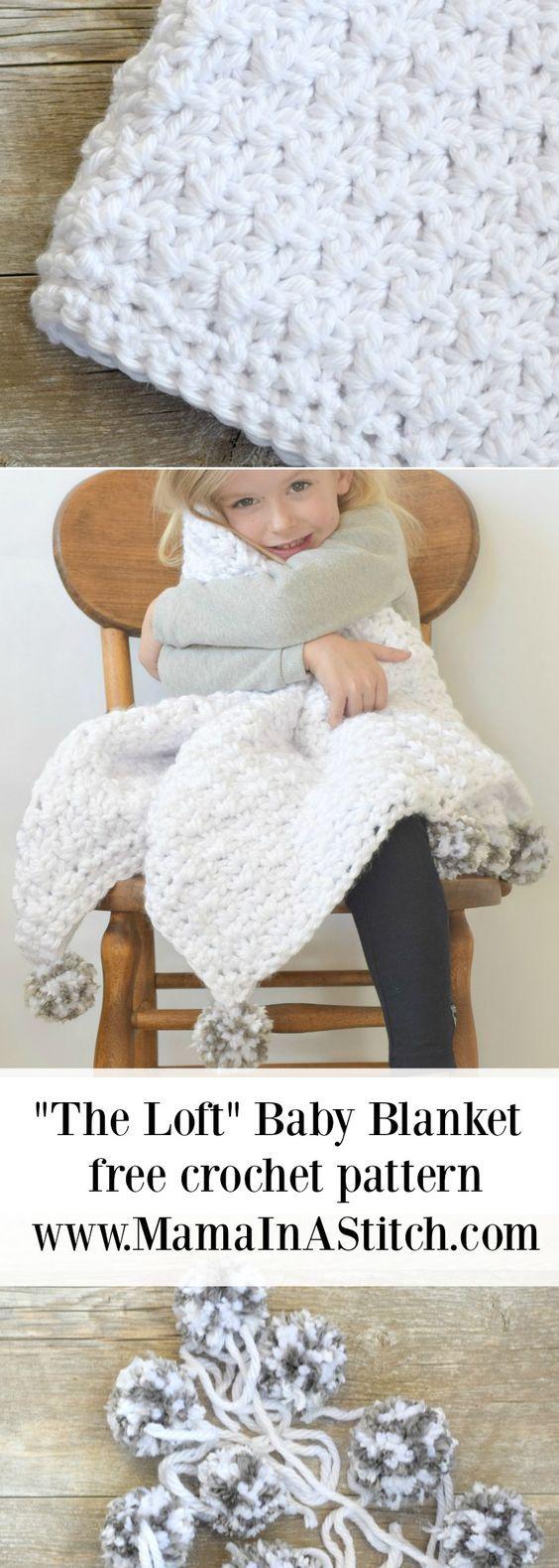 "The Loft"" Pom Baby Blanket | Crochet patterns | Pinterest | Cobija ..."