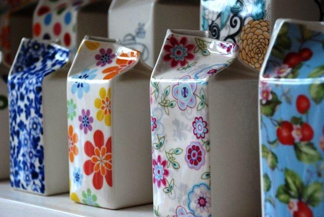Beautiful Ceramic Milk Cartons Rustic Tableware Crafts Ceramics