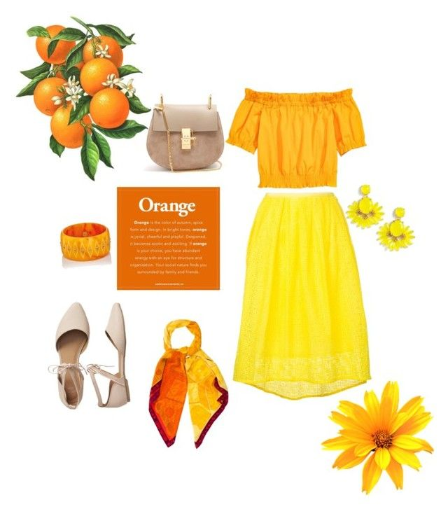 """""""Orange and yellow beauty"""" by aanya-i on Polyvore featuring beauty, Estnation, Gap, Chloé, Louis Vuitton, Mark Davis and J.Crew"""