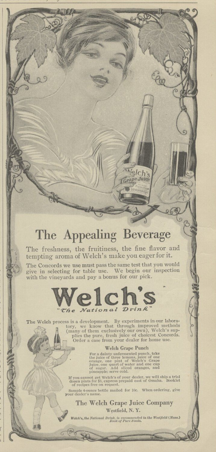1913+Ad+Welch's+Grape+Juice+The+Appealing+Beverage+++++31913AMMag
