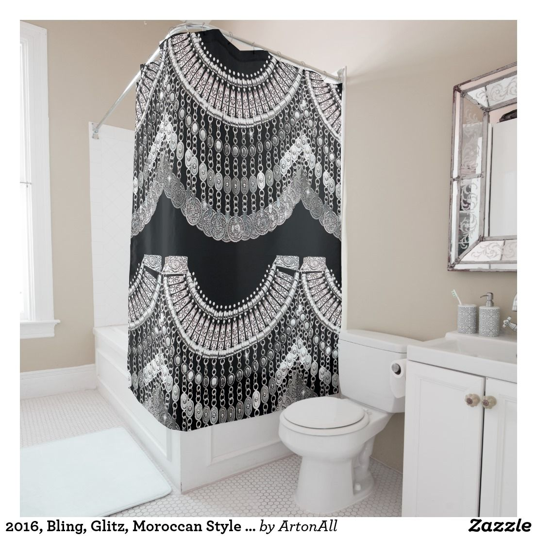 2016 Bling Glitz Moroccan Style On Black Print Shower Curtain