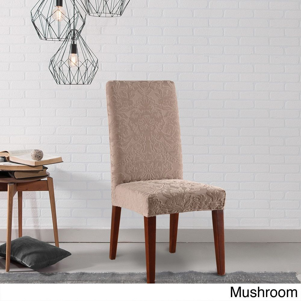 Sure Fit Stretch Jacquard Damask Dining Room Chair