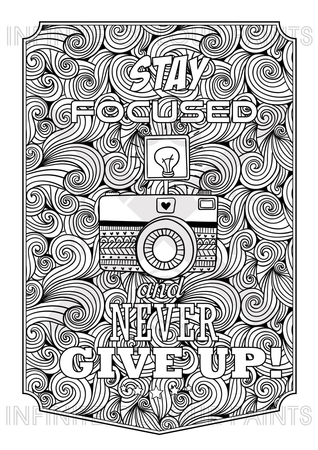 Coloring Page Adult Book Printable Zentangle Motivational Poster Motivation Quote
