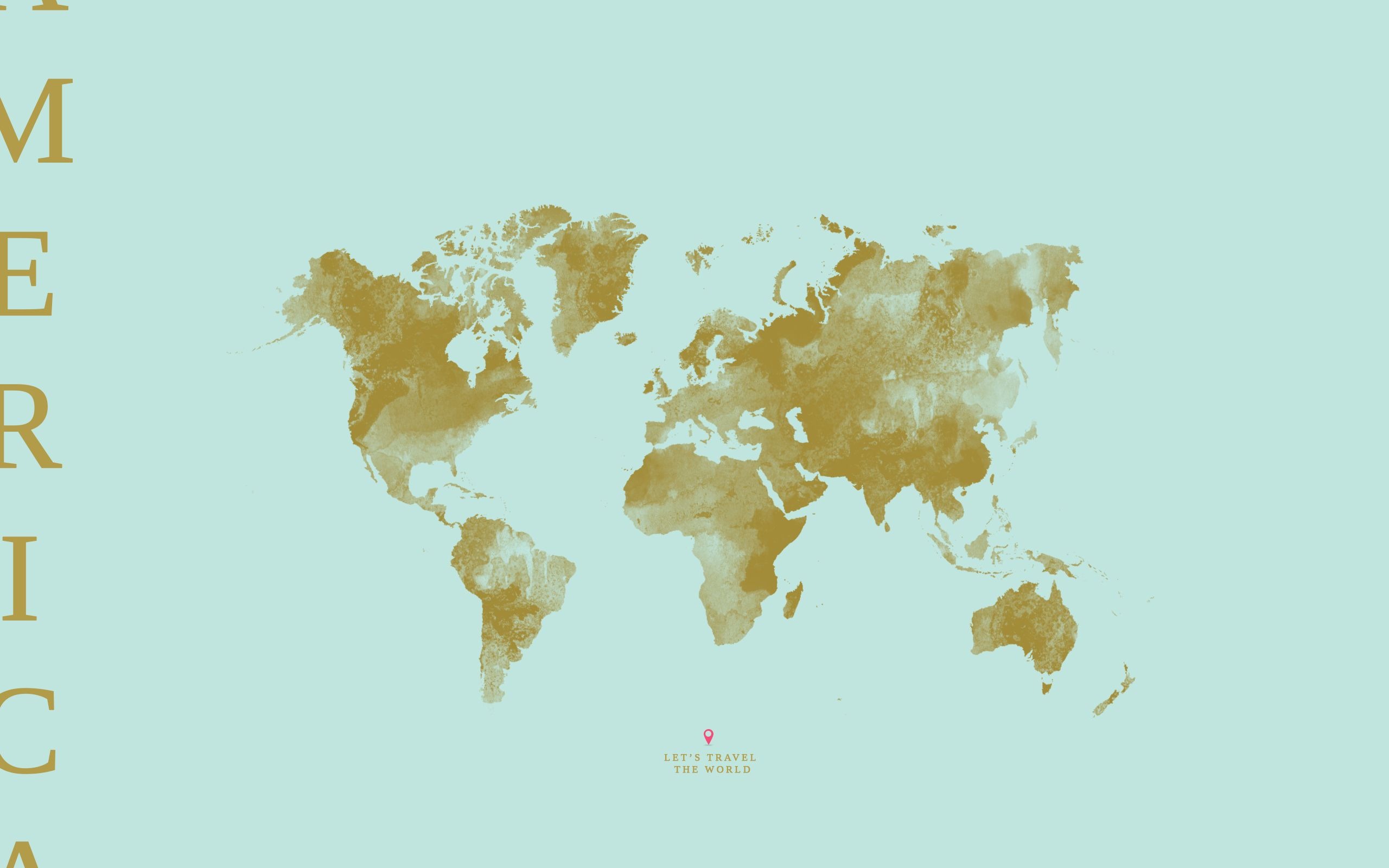 Mint Pastel Green World Map America Desktop Wallpaper Background