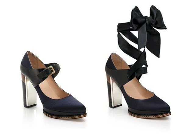 Hugo Boss - Pump Jennifer. With an extra twist - the strap can be fastened with a satin bow or metal buckle.
