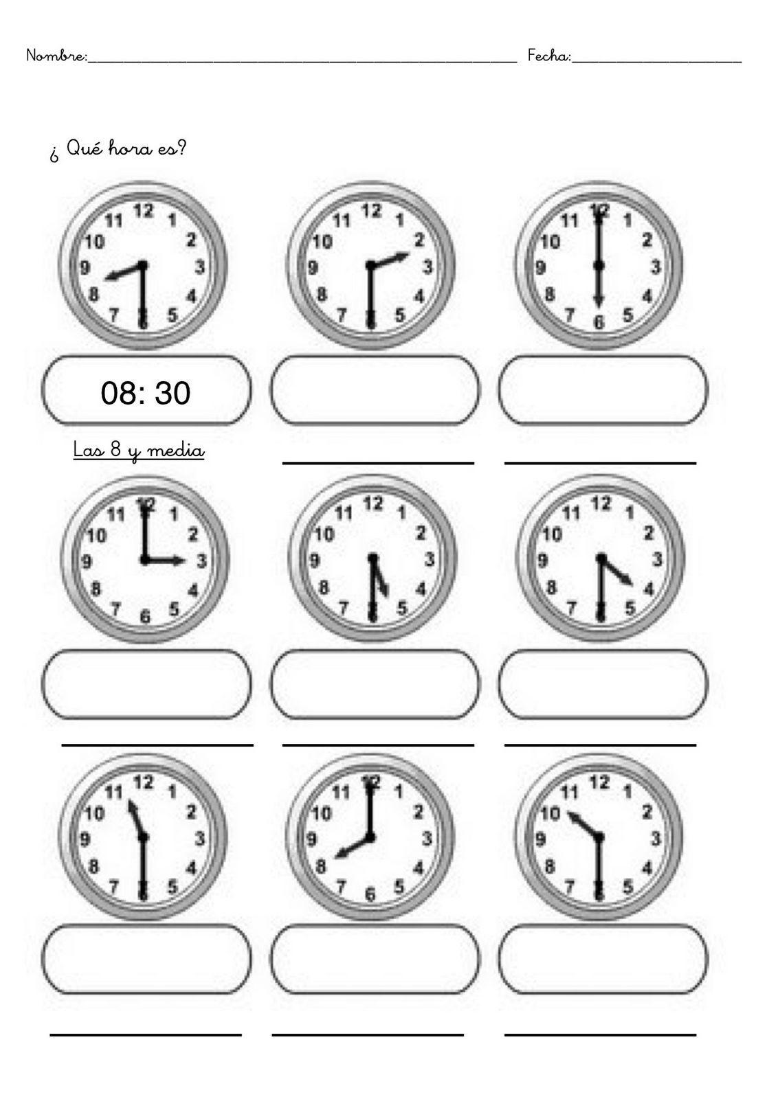 Fichas Infantiles De Trabajar Las Horas Gratis Descargar