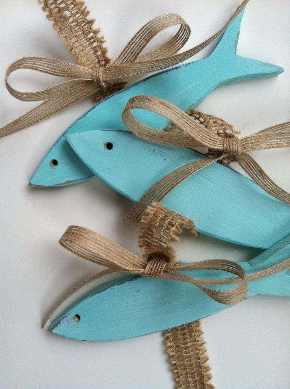 Wooden Fish aqua and tan wall hanging beach by TheArtfulBouquet, $20.00
