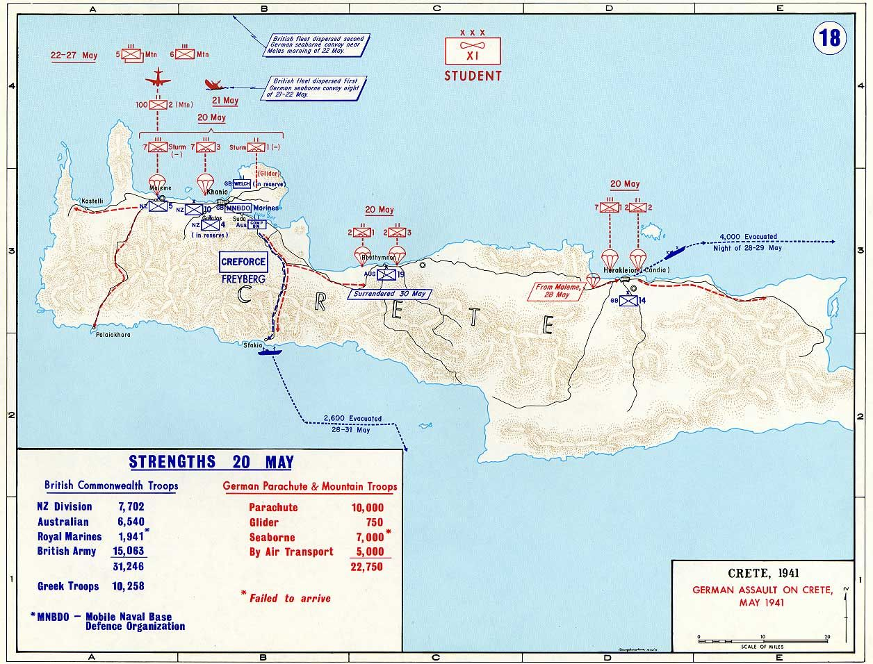 Map Map Depicting The German Assault On Crete Greece  May - Map us 20
