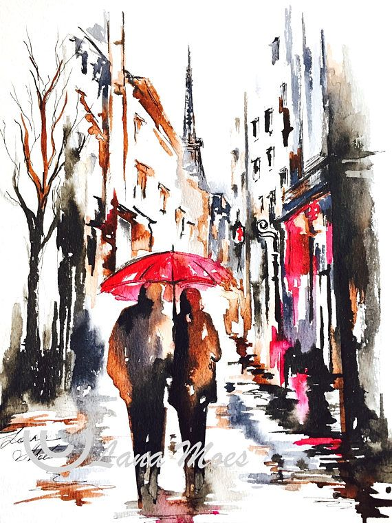 Paris Inspired Original Abstract Watercolor Painting