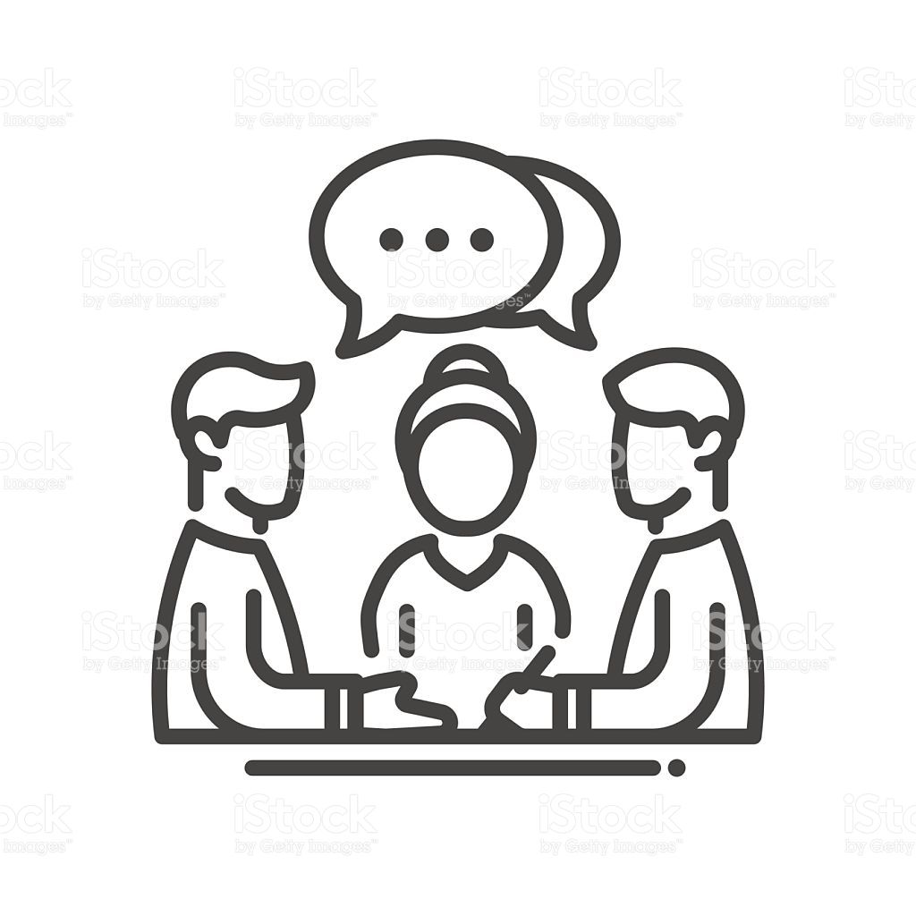 Business meeting single isolated modern vector line design