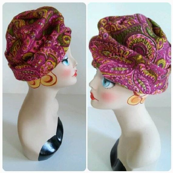 The MAGIC MAGENTA Mr. Henri Hat Vintage 1960's MOD Paisley Print Turban with Original Hat Pin in Front Lined and Labeled New York Medium