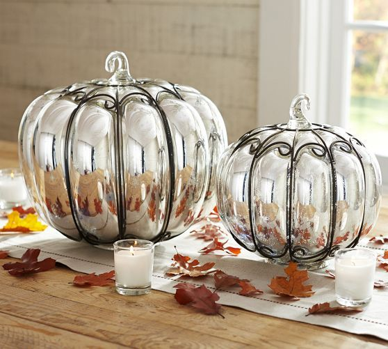 Mercury Glass Wire Pumpkins Pottery Barn Glass Pumpkins