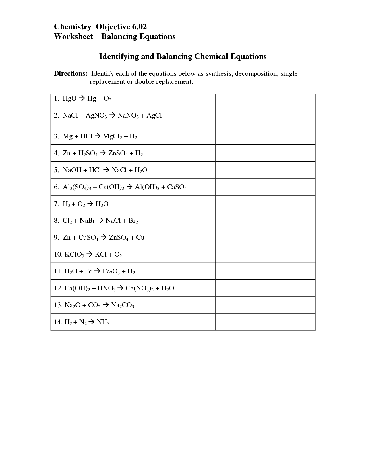 Balancing Chemical Equations Worksheet Nano3